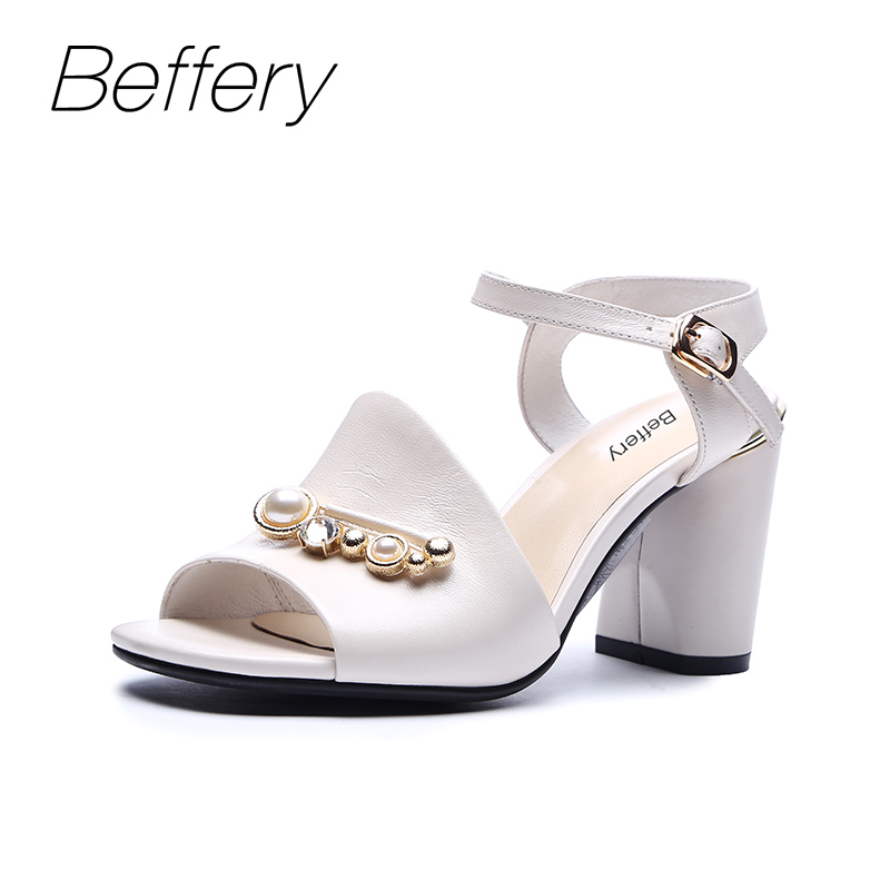 цена на Beffery Summer Sandals Women Genuine Leather High heels Shoes for Women Fashion Pearl Summer shoes chaussures femme ete 2018