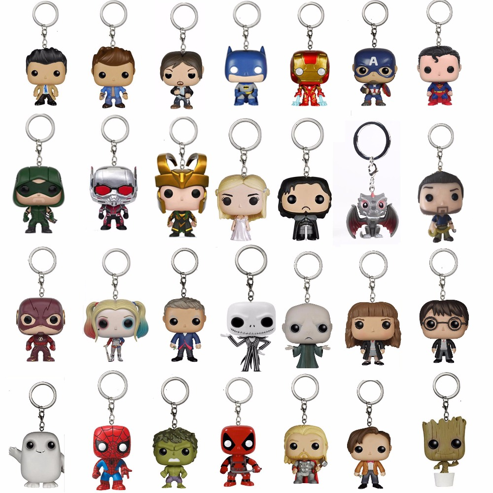 Marvel Keychain Spider Chivalrous U.S.A Captain America Harri potter Game of Thrones DC Hero Superman Batman Key Chains with box image