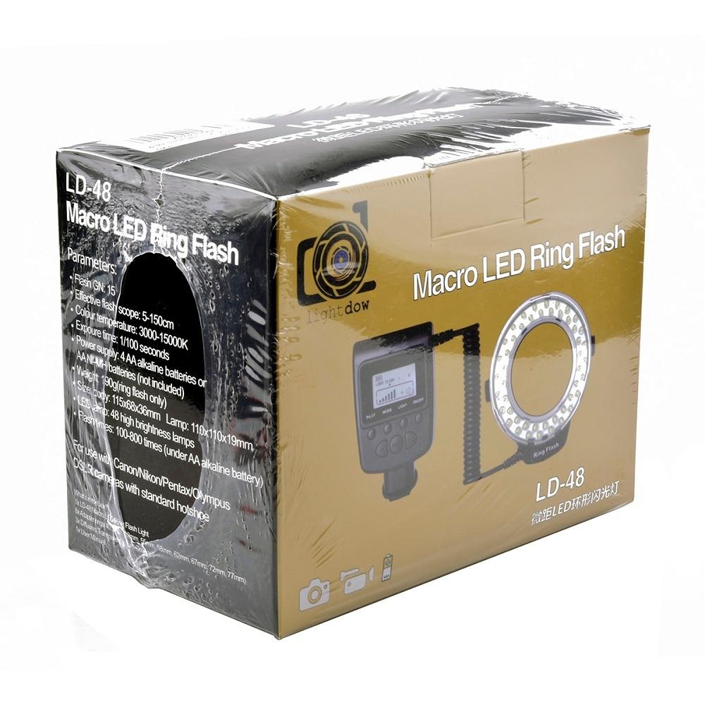 Lightdow LD-48 48pcs LED Macro LED Ring Flash Light with LCD Screen Display for Canon Nikon Fujifilm Pentax Olympus DSLR Cameras wansen w48 4w 480lm 48 led makro macro ring lighting flash for canon nikon page 1