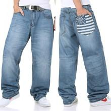 Плюс размер 34-46 (хип 145 см) 2014 новый плюс размер хип-хоп джинсы свободные джинсы широкий ноги