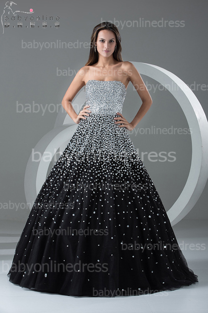 Aliexpress.com : Buy Tulle Black Long Ball Gown Dresses 2015 ...