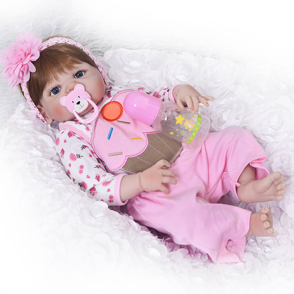 New 23'' Full Body Silicone Reborn Baby Dolls Toy Realistic Baby Reborn Girl Babies Doll Children Christmas Gift Brinquedos цена 2017