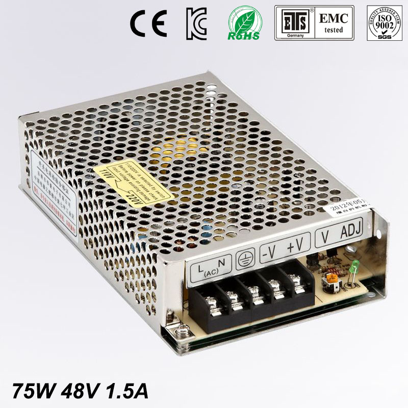 Best quality 48V 1.5A 75W Switching Power Supply Driver for LED Strip AC 100-240V Input to DC 48V free shipping best quality 15v 26 5a 400w switching power supply driver for led strip ac 100 240v input to dc 15v free shipping
