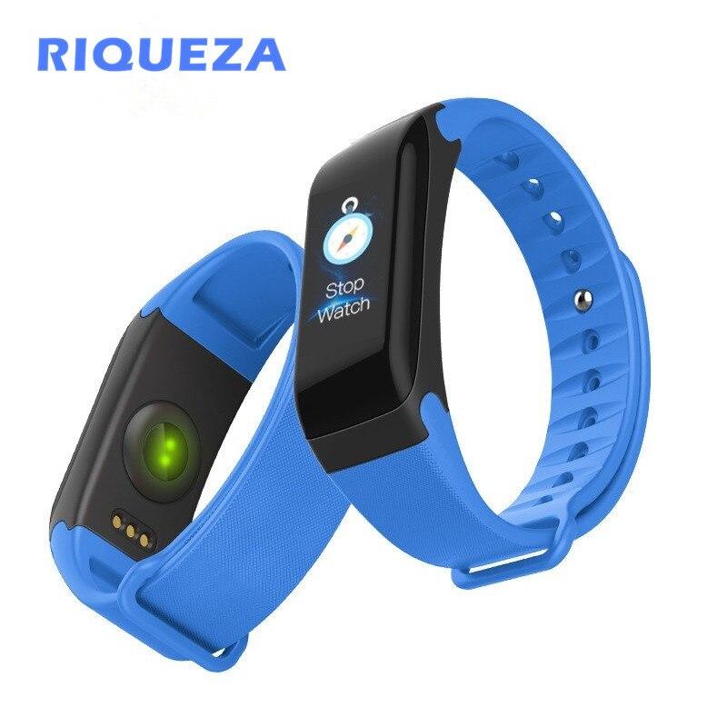 RIQUEZA Bluetooth 4.0 Smartwatch F1P Sport Fitness Tracker Bracelet intelligent surveillance du sommeil adapté aux téléphones IPhone et Android