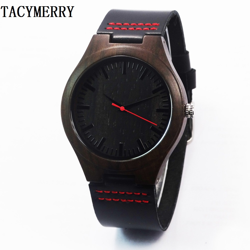 Japenese Quartz Wristwatch Fashion Gifts Black Wooden Watches For Men and Women With Genuine Leather Straps