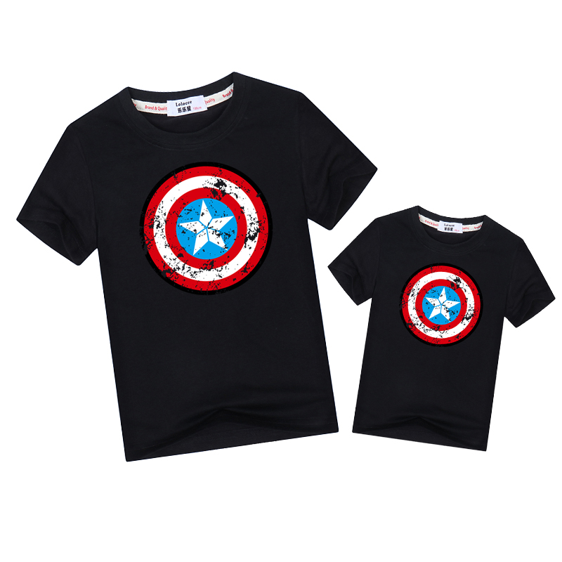 Pentagram Shield Father Son Matching Outfits Fashion Short Sleeve T-shirt Dad Kid Family Match Clothes Summer Boys Tee Print Top