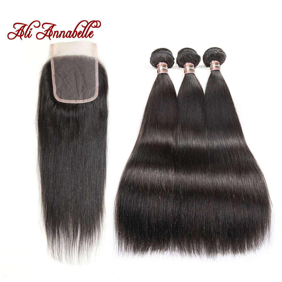 Ali Annabelle Hair Peruvian Straight Hair Bundles With Closure Natural Color 100 Remy Human Hair 3