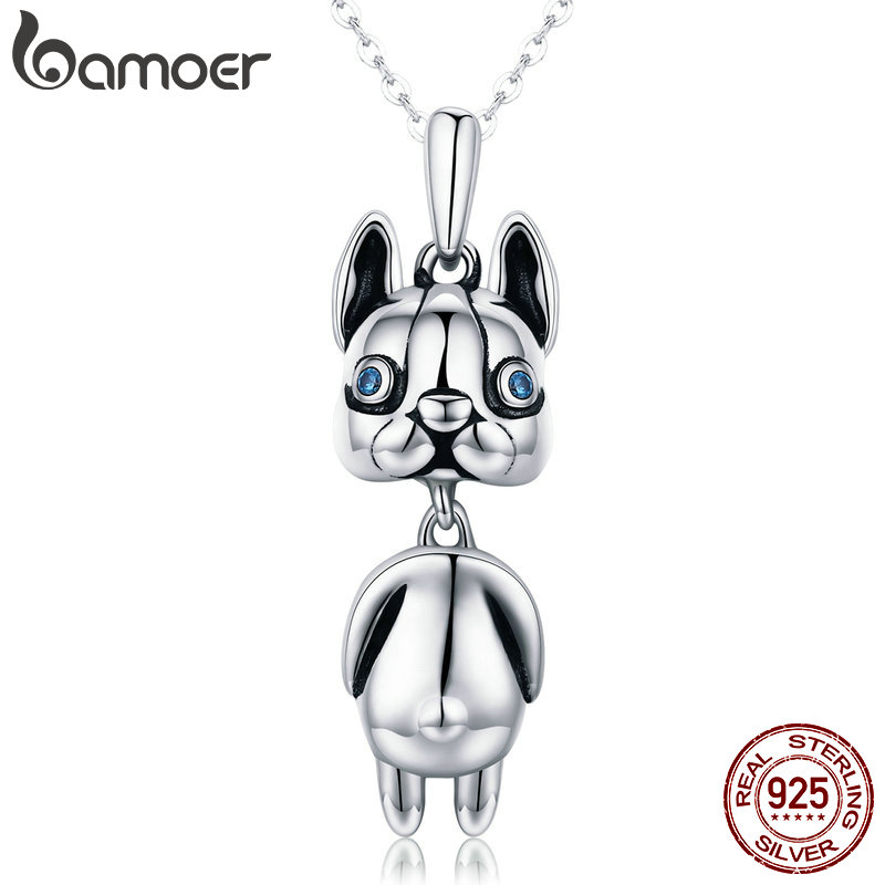 BAMOER High Quality Authentic 925 Sterling Silver French Bulldog Doggy Dog Animal Pendant Necklaces Women Silver Jewelry SCN233