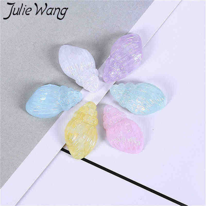 Julie Wang 20PCS Resin Conch Charms Mixed Colors Slime Sea Beach Pendants Jewelry Making Accessory Home Table Decor Props