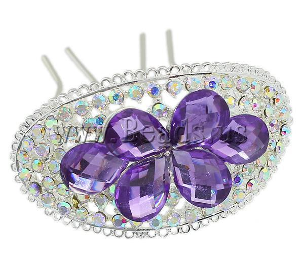 Free shipping!!!Decorative Hair Combs,New 2013 Jewelry, Zinc Alloy, with rhinestone, mixed colors, nickel, lead & cadmium free