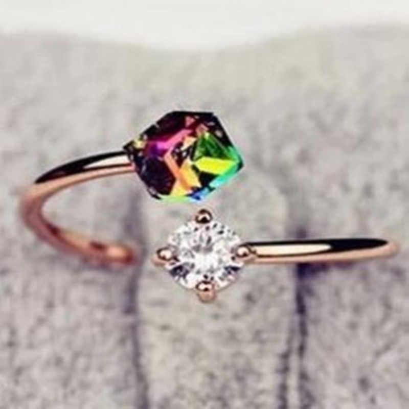 เวอร์ชั่นเกาหลีย้อนยุคเครื่องประดับเพทายกุหลาบทองแหวนสแตนเลสแหวนสำหรับผู้หญิงผู้หญิงแหวน