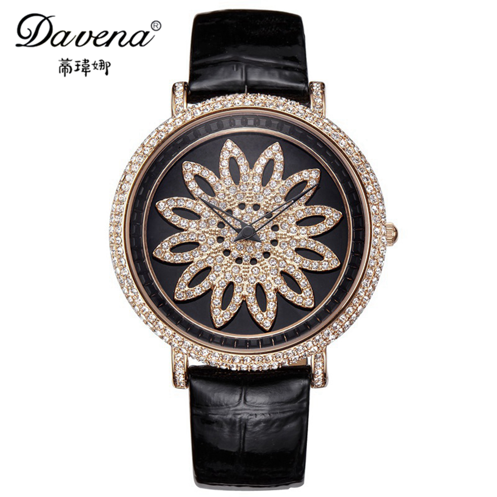 Female Studden bling crystal flower wristwatch women dress rhinestone watches fashion casual quartz watch Davena 30063 clock tag