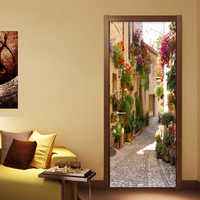 Papel pintado 3D PVC autoadhesivo impermeable Pared de fotos Mural adhesivo puerta paisaje de la calle europea café comedor Papel murales