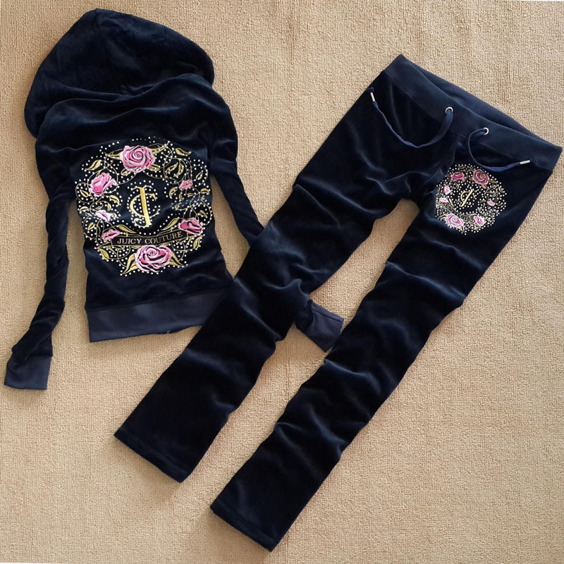 Flower Pattern Casual Velvet Fabric Women Tracksuits with Rhinestone Velour Suit Hoodies Tops and Sweat Pants Set S-XL