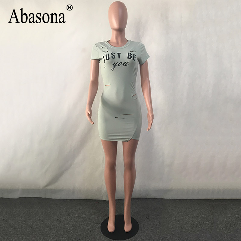 1eca091bb3 Abasona Women summer casual t shirt dress letter Print sexy hole mini  bodycon dress short Sleeve o neck slim bandage dresses new-in Dresses from  Women s ...