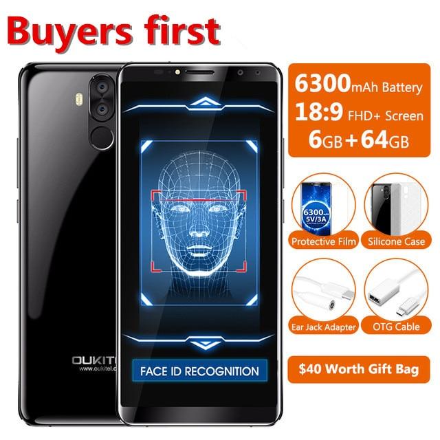 OUKITEL K6 6.018:9 Full Screen 6300mAh Face ID Mobile Phone RAM 6GB ROM 64GB MTK6763 Octa Core Android 7.1 16MP NFC SmartphoneOUKITEL K6 6.018:9 Full Screen 6300mAh Face ID Mobile Phone RAM 6GB ROM 64GB MTK6763 Octa Core Android 7.1 16MP NFC Smartphone