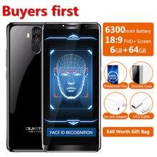 OUKITEL K6 6.0″18:9 Full Screen 6300mAh Face ID Mobile Phone RAM 6GB ROM 64GB MTK6763 Octa Core Android 7.1 16MP NFC Smartphone