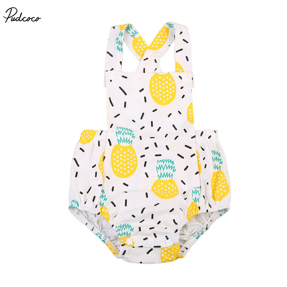 все цены на Cute Infant Baby Girl Clothes Pineapple Print Jumpsuit Sleeveless Backless Bandage Romper Polka Dot One Piece Outfit Sunsuit