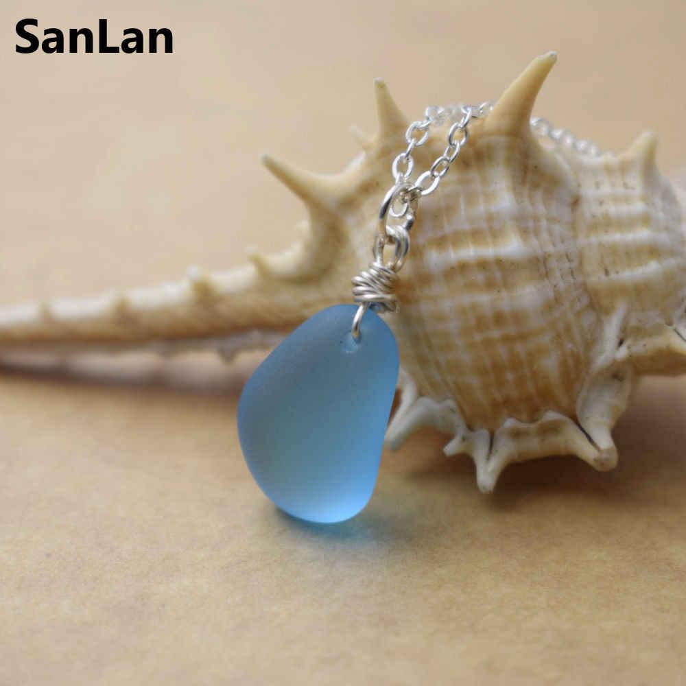 SanLan 1 ชิ้นทำด้วยมือ 12-16 มิลลิเมตรสีฟ้าสร้อยคอแก้วทะเล seaglass, แก้วชายหาด