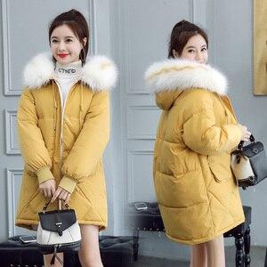 Image 1 - 2020 פרווה סלעית Parka casaco feminino נשי מעיל מעיל בתוספת גודל חורף מעיל נשים מזדמן למטה כותנה ארוך מרופד מעיילי
