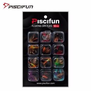 Piscifun 12pcs Dry Flies Fly Fishing flies Kit Bass Salmon Trouts Floating Fishing Artifical F Bait(China)