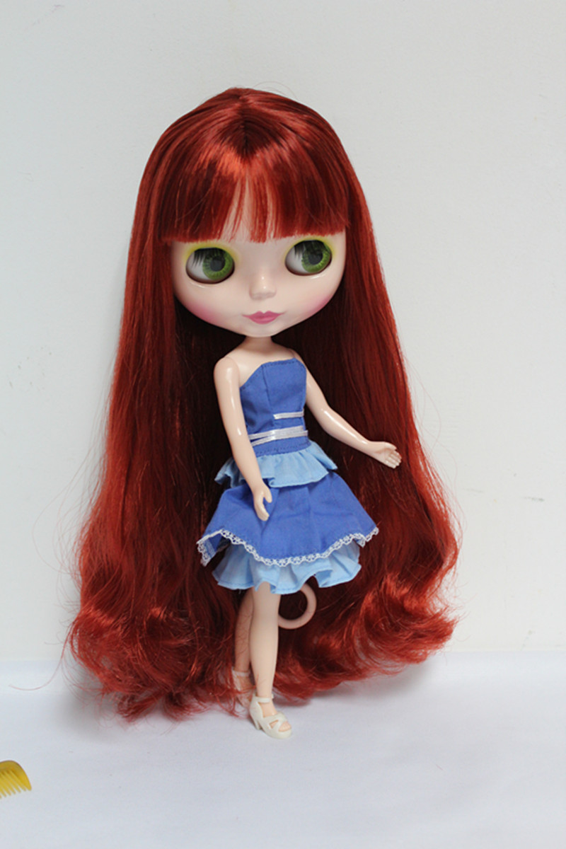 Blygirl Blyth doll Nude dolls red bangs straight hair 30cm ordinary body can be replaced body DIY dolls for makeup free shipping neo blyth nude doll light gold hair with bangs suit for diy fashion dolls