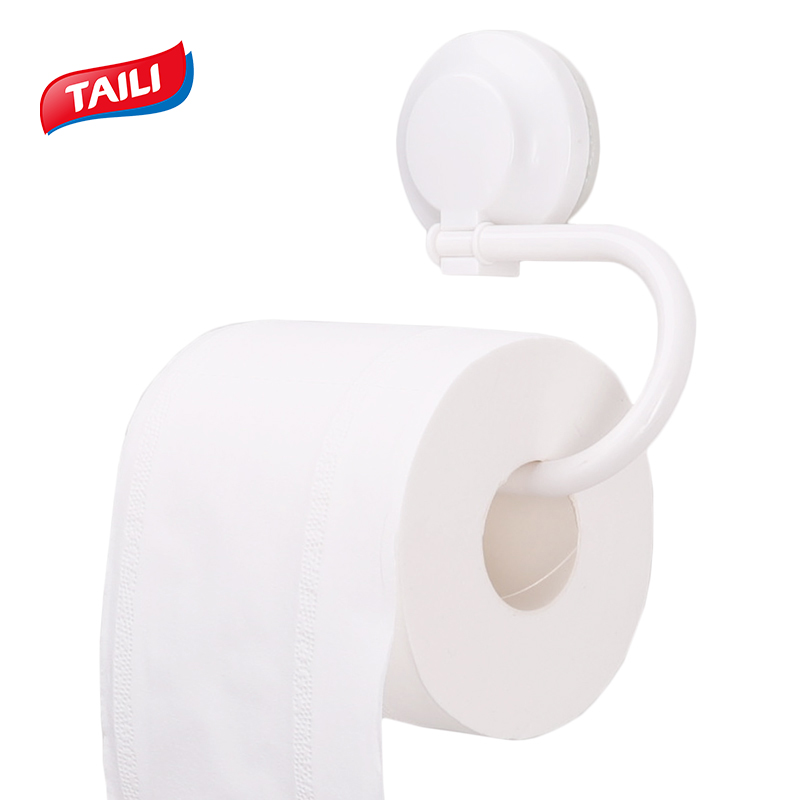 TAILI Toilet Paper Hanging Rack Ring Shape Bathroom Towel Holder Rack Bar Plastic Vacuum Suction Cup Towel Shelf