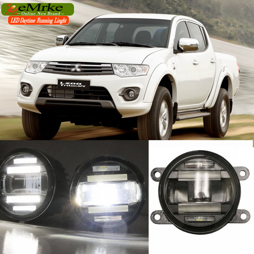 eeMrke Car Styling For Mitsubishi Pajero Sport 2014 2015 2 in 1 LED Fog Light Lamp DRL With Lens Daytime Running Lights eemrke car styling for ford explorer 2013 2014 2015 2 in 1 led fog light lamp drl with lens daytime running lights
