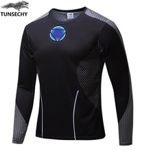 2016 high quality compression long sleeve T shirt superman batman spiderman captain America fitness t shirts