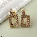 Покрытием золото серьги корейской моды ювелирных кристаллов шпильки свадьба любовь известный украшения для женщин ABC