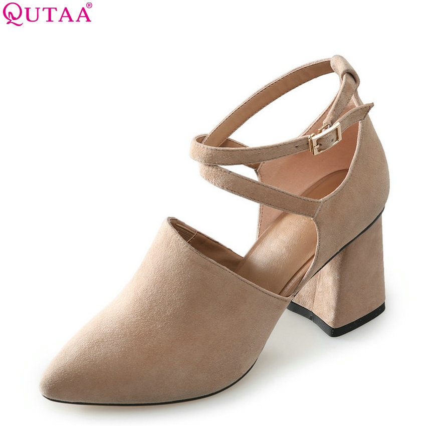QUTAA 2018 Women Pumps All Match Fashion Square High Heel Pointed Toe Cow Suede Buckle Spring/ Autumn Ladies Pumps Szie 34-43 nemaone 2018 women ankle boots square high heel pointed toe zipper fashion all match spring and autumn ladies boots