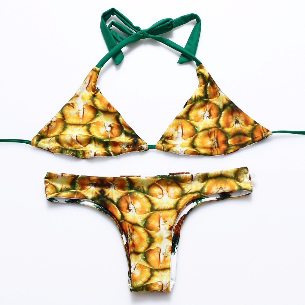 Trangel, новинка, бразильский двусторонний купальник, бикини, сексуальный женский купальник, ананас, серия, с принтом, бикини, Холтер, купальник... 20