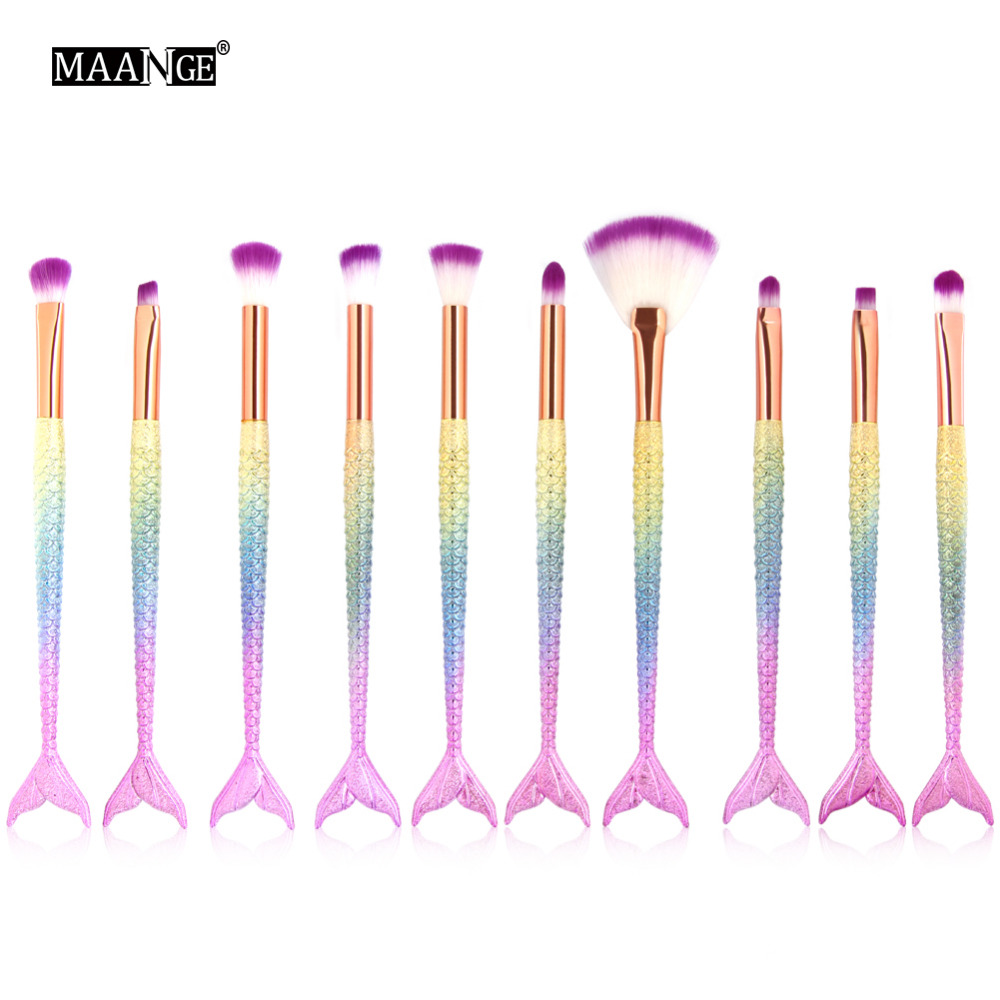 Professional 10pcs Mermaid Makeup Brush Set Eyeshadow Eyebrow Eyeliner Blush Cosmetic Co ...