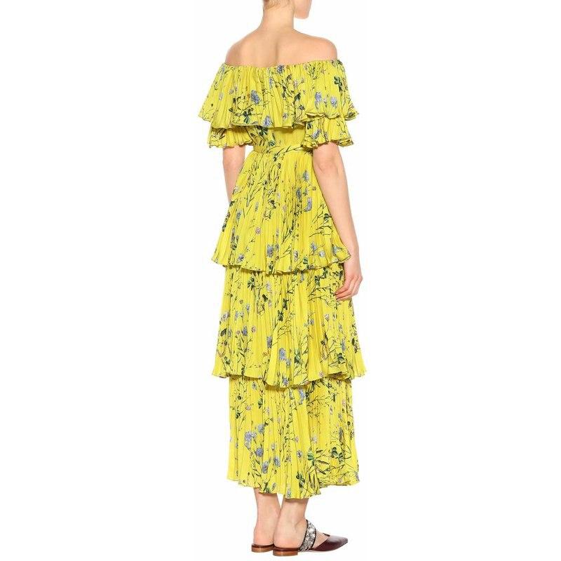 TWOTWINSTYLE Off Shoulder Dress Women Print Ruffles Patchwork Tunic High Waist Ruched Long Beach Dresses 2019 Summer Fashion New