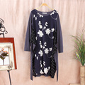 Plus Size Japanese Women's Long Sleeve Loose Mori Girl Cute Kawaii Crocheted Lace Embroidered Floral Female Dress Vestido A024