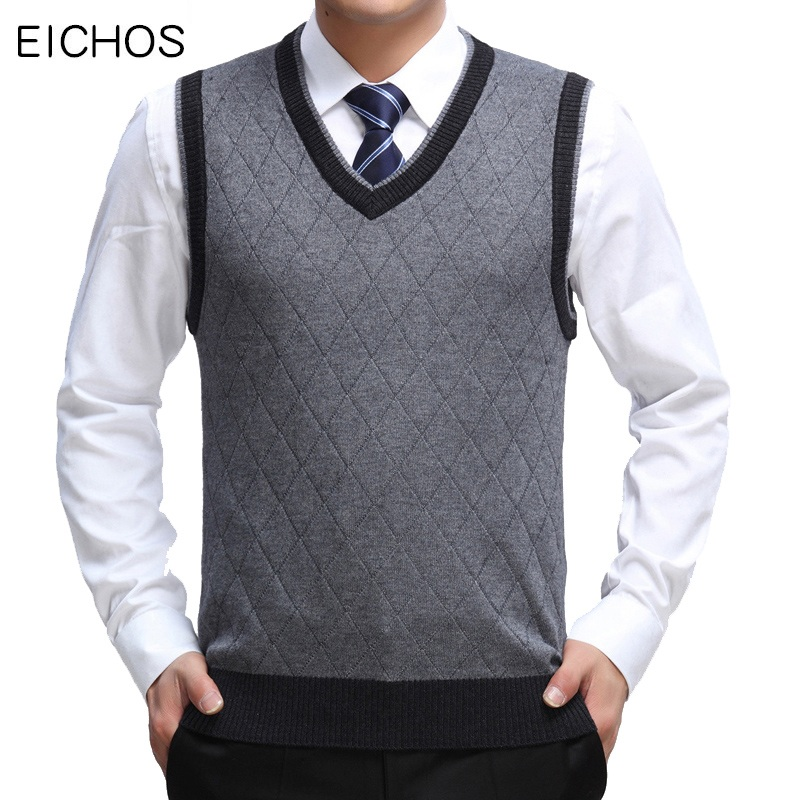 EICHOS High Quality Classic Sweater Vest Men V-neck Pullover Men Business Formal Fashion Plaid Sleeveless Men Knitted Sweater
