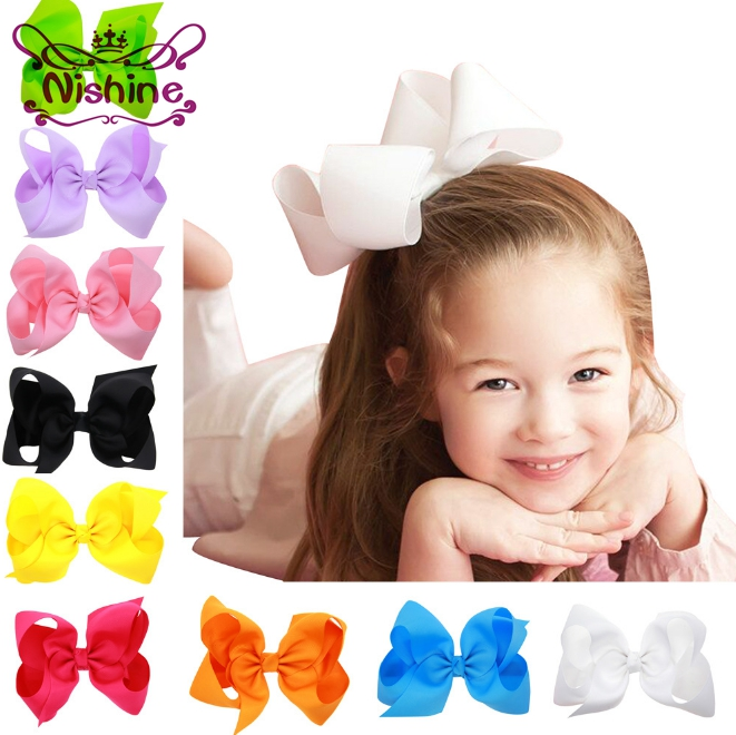 Nishine 20pcs/lot 6 Inch Big Ribbon Bow Hairpin Girls Bow Clips Kid Hair Clip Boutique Hair Accessories(Color:20 Colors) 5 6pcs lot headwear set children accessories ribbon bow hair clip hairpin rabbit ears for girls princess star headdress t2