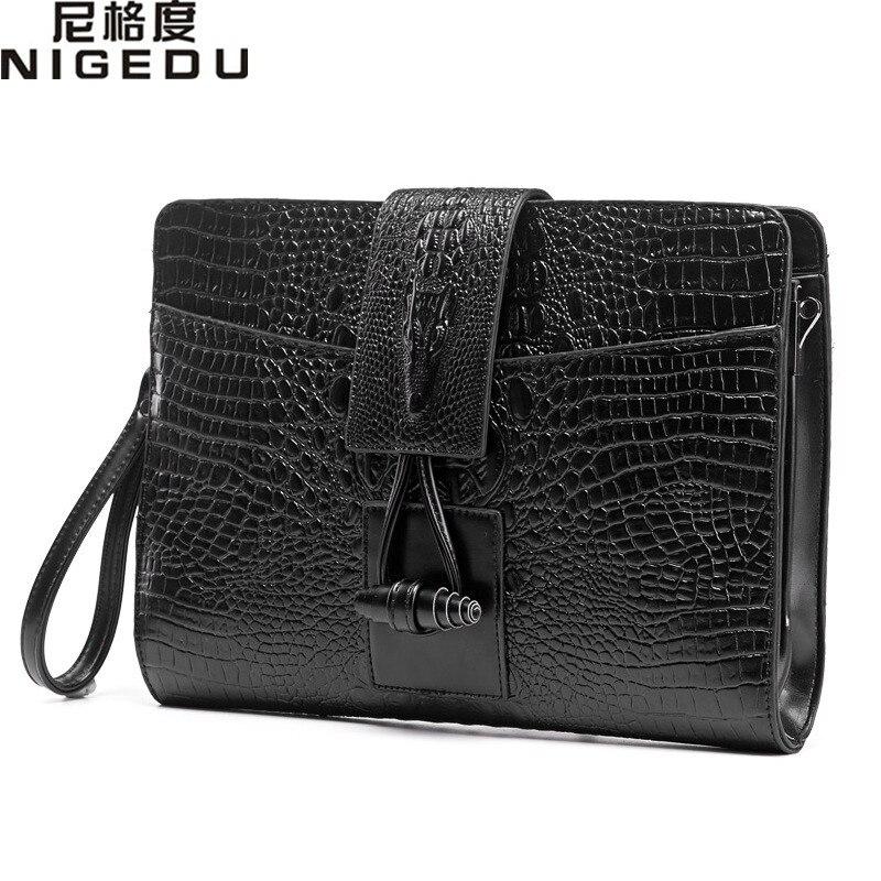 Винтаж Крокодил мужчин и женщин Клатчи качества кожа сумка для мужчин сумки дамы клатч-конверт Bolsas