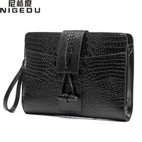 Vintage Crocodile men's and women Clutches Quality leather Shoulder bag for men messenger bags Ladies envelope clutch bolsas