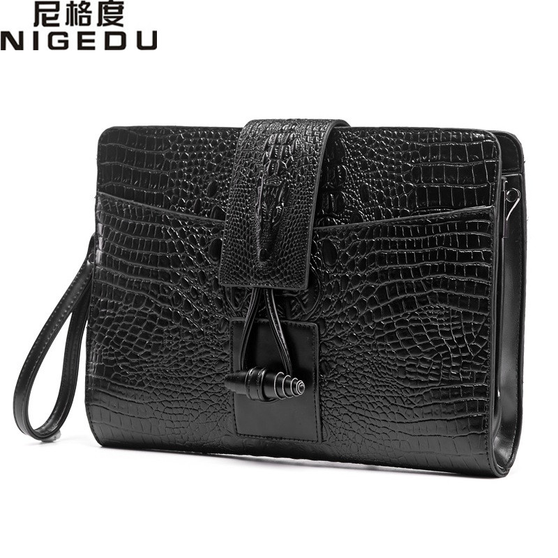 d4ca460e5127 Vintage Crocodile men s and women Clutches Quality leather Shoulder bag for men  messenger bags Ladies envelope