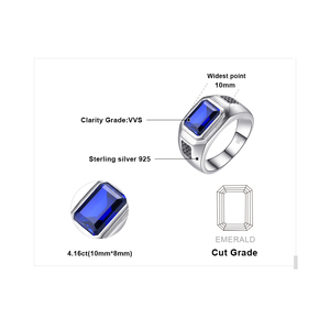 Image 5 - JewPalace 4.3ct Black Spinel Created Sapphire Ring 925 Sterling Silver Rings for Men Wedding Rings Silver 925 Gemstones Jewelry