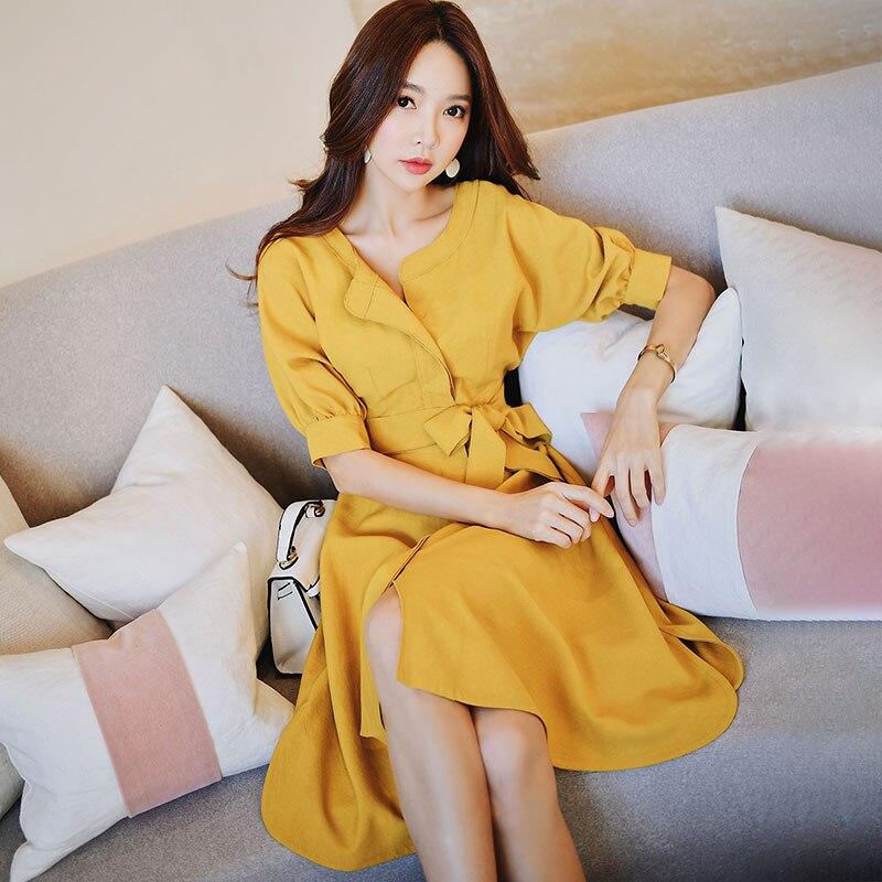 Dabuwawa Summer Yellow A Line Elegant Midi Dress for Girl Women Office Lady 2019 New Half