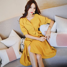Dabuwawa Summer Yellow A-Line Elegant Midi Dress for Girl Women Office Lady 2019 New Half Batwing Sleeve Swing Dresses DN1BDR022