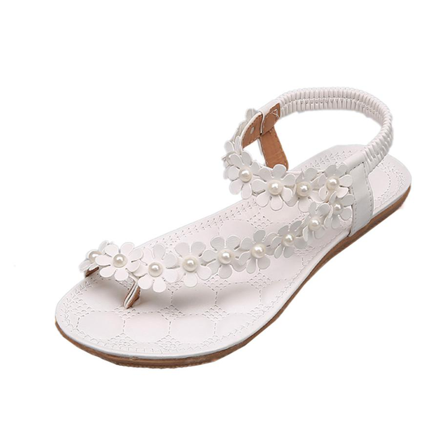 Sandals For Women 2018 Summer Fashion Simple Bohemia Flower Beads Flip-flop Shoes Leather Flat Sandals Girls zapatos mujer A5 instantarts women flats emoji face smile pattern summer air mesh beach flat shoes for youth girls mujer casual light sneakers