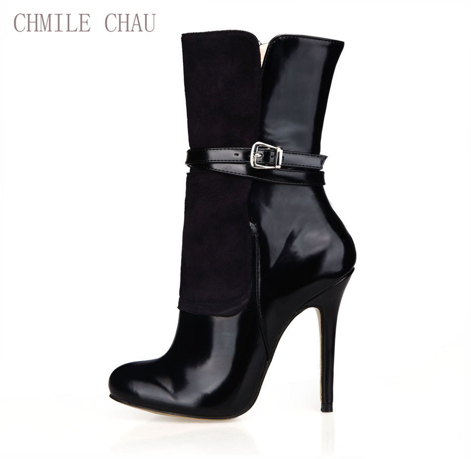 CHMILE CHAU Black Sexy Party Shoes Women Round Toe Thin High Heels Buckle Lady Mid-Calf Boots Zapatos Mujer Big Size 0640CBT-Q2 double buckle cross straps mid calf boots