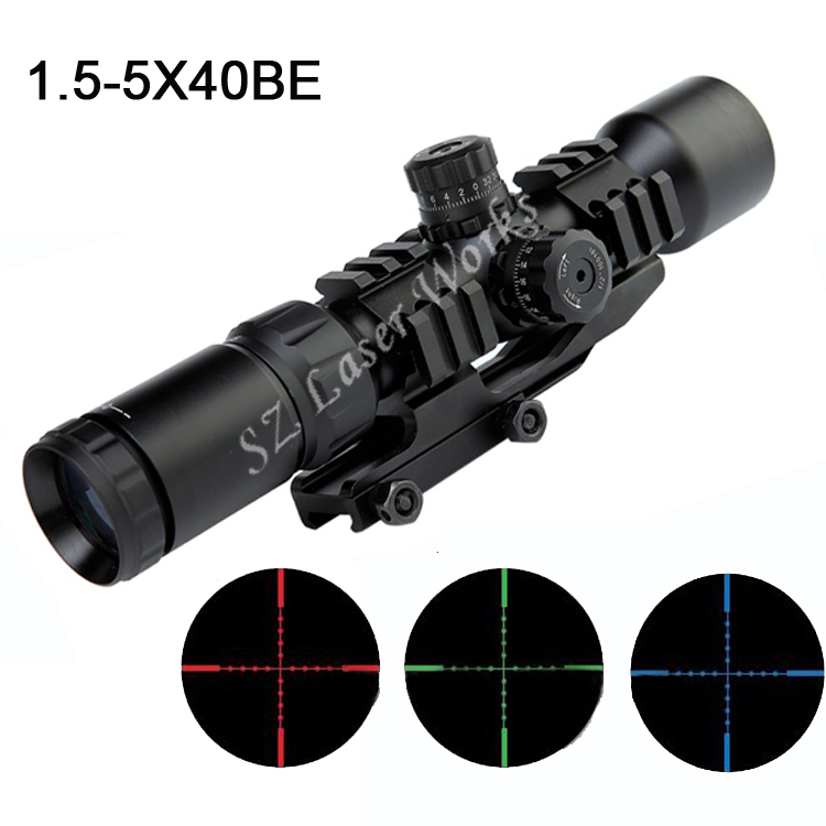 AIM Sports 1.5-5x40BE Mil-Dot three color Illuminated Tactical Monocular riflescope sight Waterproof hunting Riflescope sight speakercraft aim 7 dt three