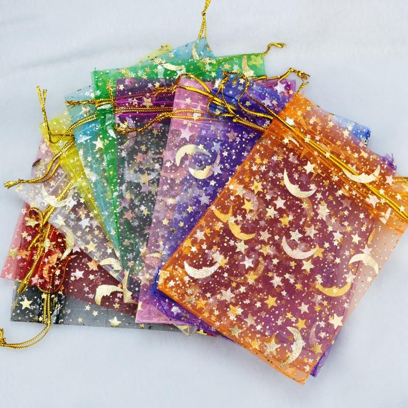 Hotsale 100pcs/lot Moon Star Organza Bags 7x9 9x12cm Small Christmas Drawstring Gift Bag Charm Jewelry Packaging Bags & Pouches