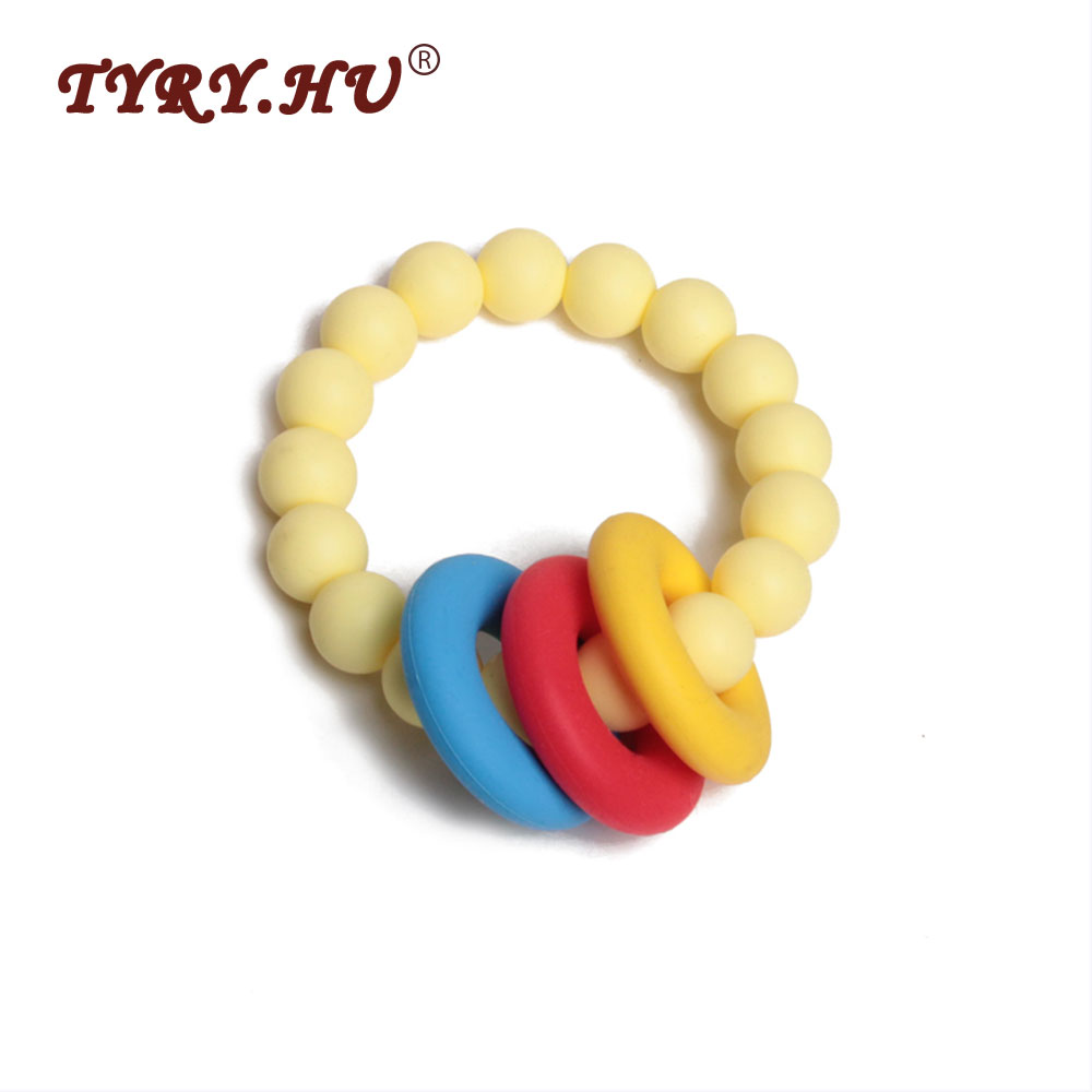 TYRY.HU Food Grade Silicone Teethers Baby Chewable Bracelet With 15mm Roud Colorful Silicone Beads+Silicone Ring Teething Toys