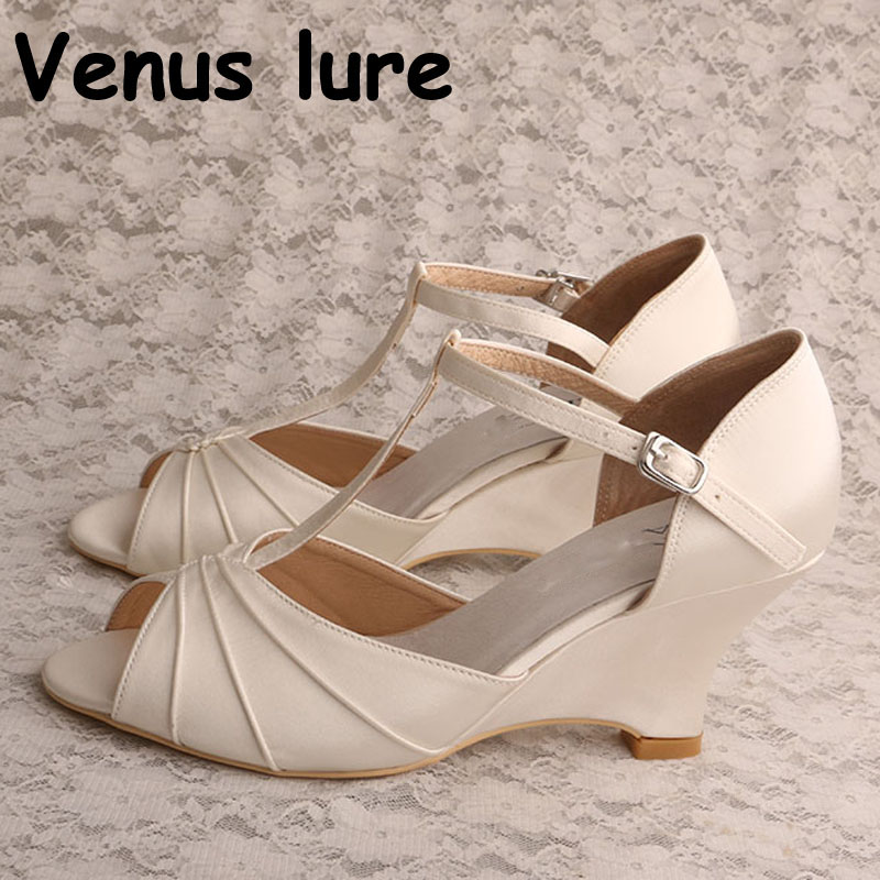 Pleated Satin Wedding Shoes Ivory Wedges T-strap Ladies Bridal Sandals Dropship