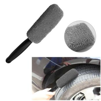1Pcs Microfiber Car Wheel Rim Brush Plastic Handle Cleaning Brush Washing Tool Brush Wheel Rims Tire Washing Tool Auto Cleaning image